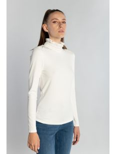 RIB TOP WITH LACE NECK LINE