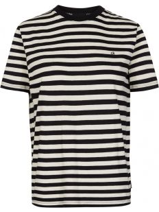 EMBROIDERED LOGO STRIPE C-NK TOP
