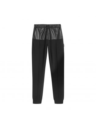 Faux Leather Jersey Joggers