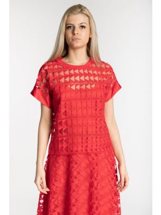 KARL EMBROIDERED MESH TOP