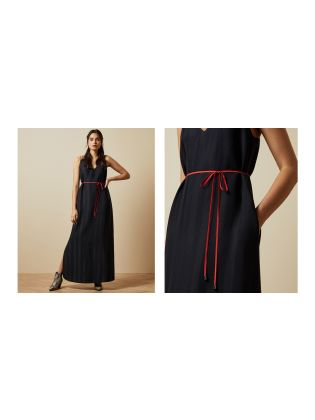 Relaxed Maxi Dress with Colour Strap