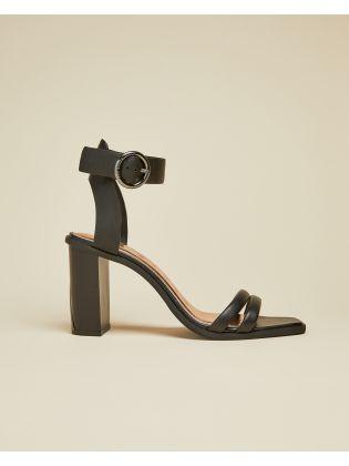 High Block Heel Leather Sandal