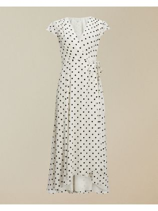 Low V Wrap Dip Hem Maxi Dress
