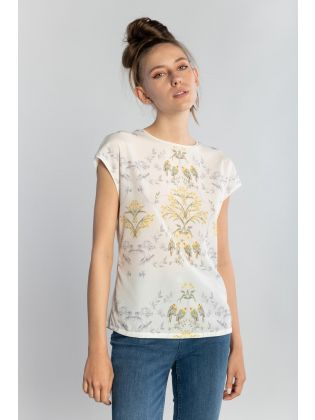 PAPYRUS PRINTED WOVEN FRONT TEE