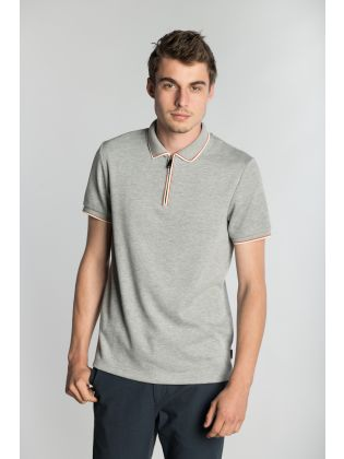 SS TEXTURED POLO WITH ZIP NECK