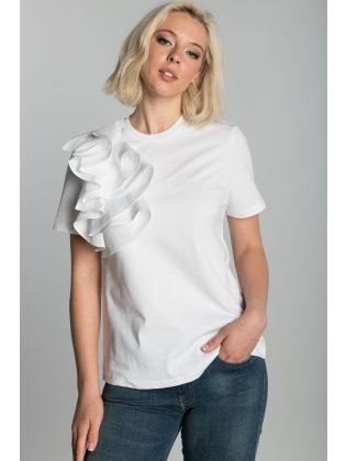 RELAXED COTTON TEE WITH FRILL