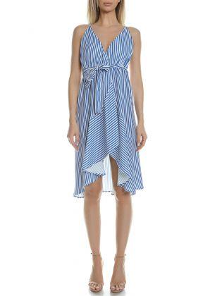 NAVY STRIPE V DRESS 343016